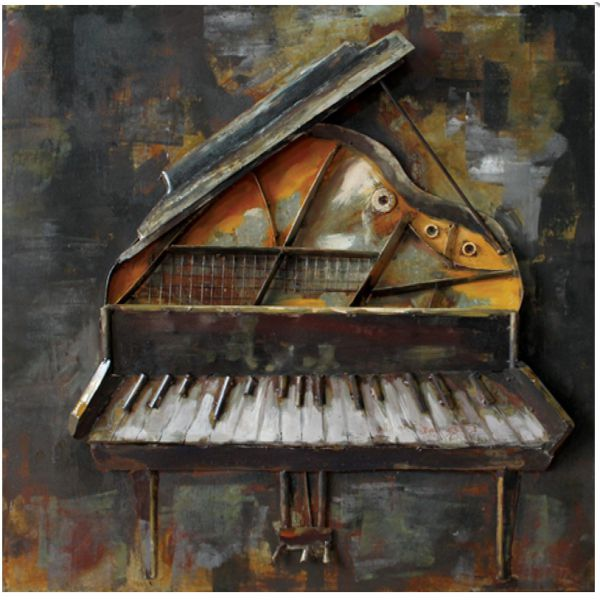 """PIANO "" Toile métal  L 60 X H 60 cm"