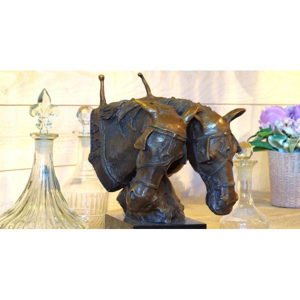 """""""TETES DE CHEVAUX """" Bronze L 82 cm"""