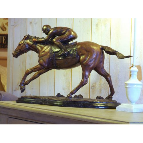 """JOCKEY ET CHEVAL"" Bronze H54 cm"