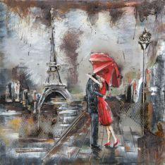 """Plaque métal """"Amoureux à Paris""""  100 x 100 cm"""