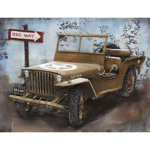 """Plaque métal """"Jeep U.S""""  60 x 80 cm"""