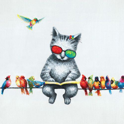 """Toile """"Un chat sur un fil """"  60 x 60 cm"""