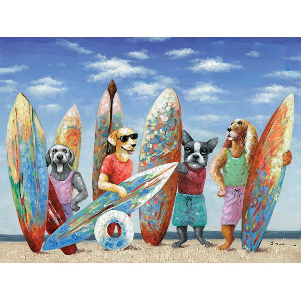 "Toile ""Surf Dogs ""  90 x 120 cm"