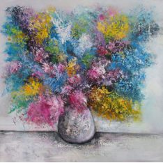 """Toile GLOSS """"FLORAL """"  100 x 100 cm"""