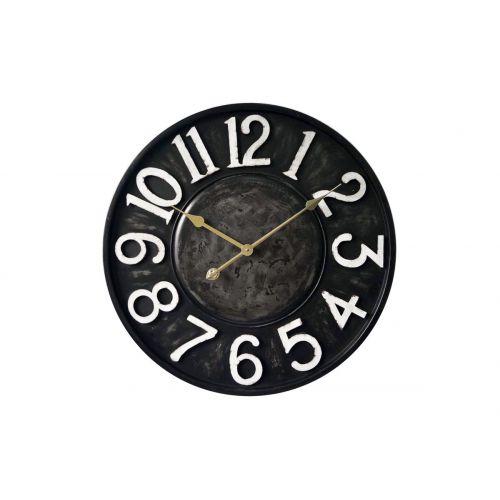 "HORLOGE MURALE "" Noire métal"" Diam 60 cm"