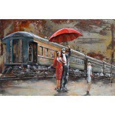 """Plaque métal """"TRAIN AU DEPART"""" 80 x 120 cm"""