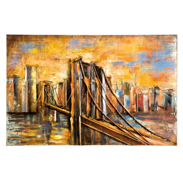 """BROOKLYN BRIDGE"" Toile métal L120 X H 80 cm"