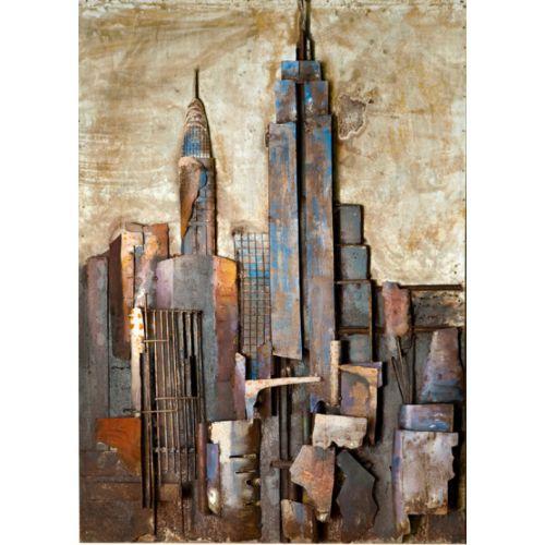 """NEW YORK"" Toile métal L 75 cm X H 100 cm"
