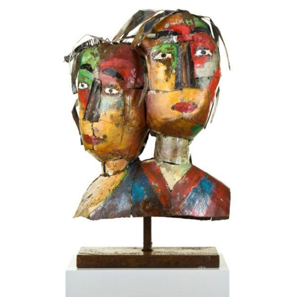 """MASCARADE COUPLE"" Sculpture métal H 65 cm"