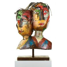 """MASCARADE COUPLE"" Sculpture métal H 65 cm"