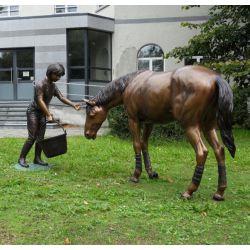 """""""JEUNE FILLE ET SON CHEVAL"""" Bronze H 194 cm"""